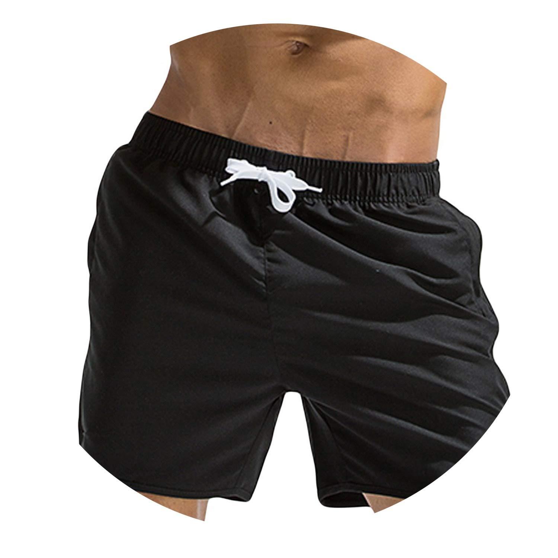 Swimming Trunks Pants Swimwear Shorts Slim wear Underwear Solid Color Beach Shorts Sweat Pants,Sky Blue,XL