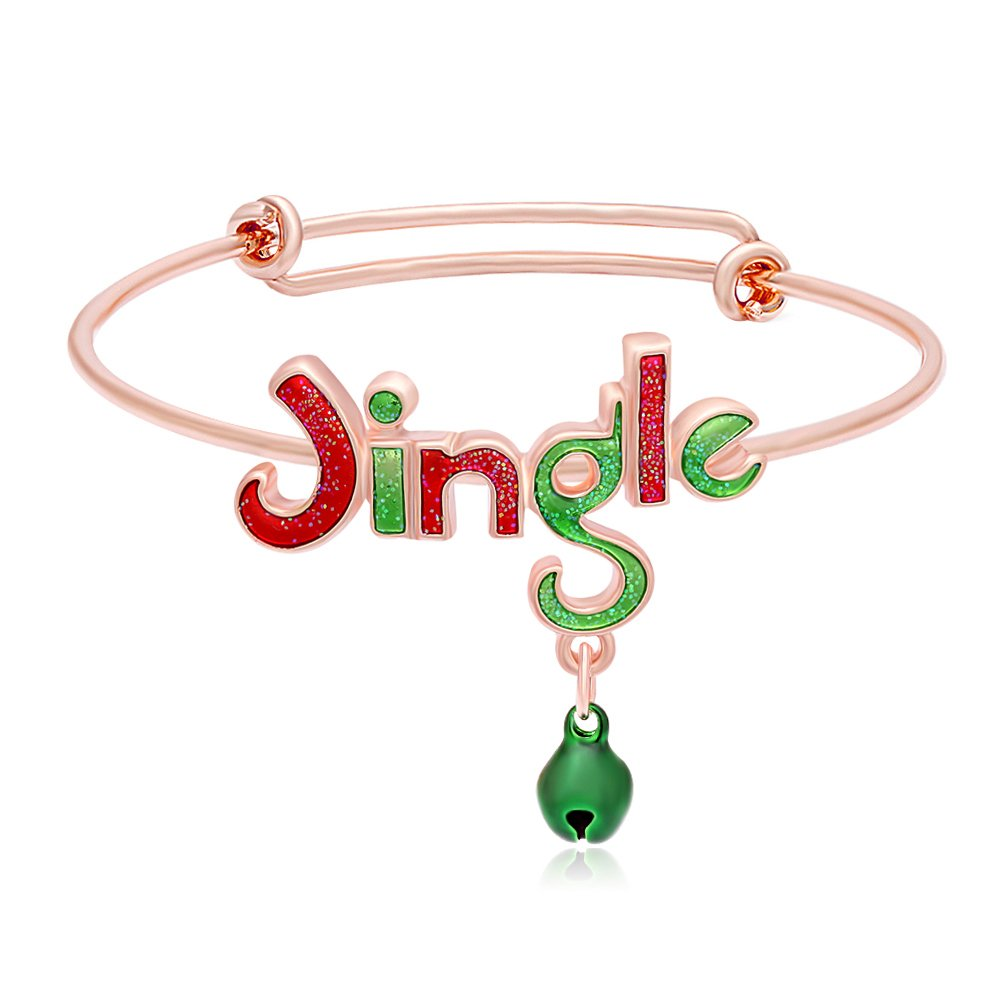 RUXIANG Colorful Enamel Jingle Bell Adjustable Opening Bracelet