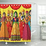 Breezat Shower Curtain Rajasthan Design of Colorful Rajasthani Puppet in Indian Style Jaipur Waterproof Polyester Fabric 72 x 78 Inches Set with Hooks