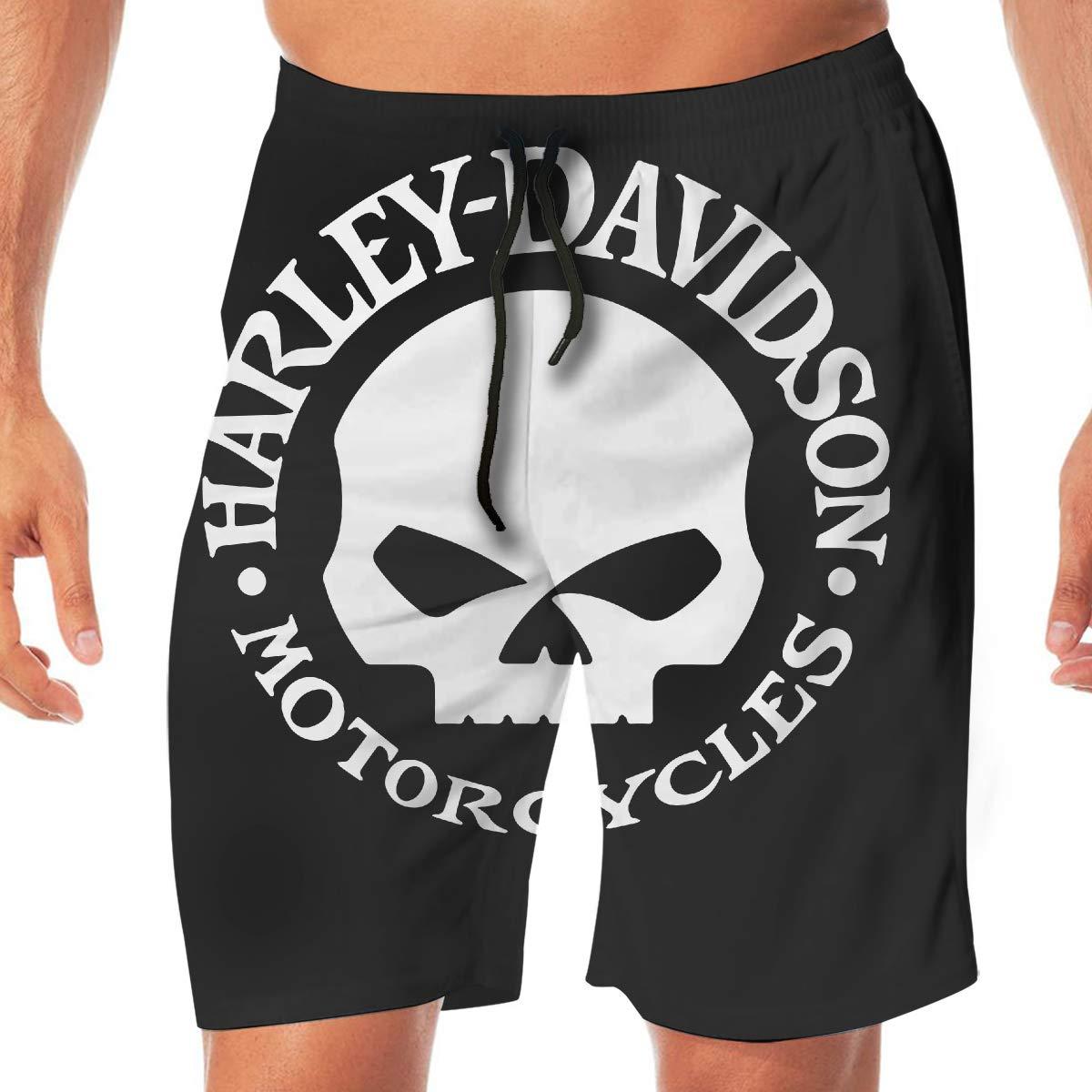 REBELN Mens Harley Davidson Logo Mens Summer Swim Trunks Quick Dry Funny Beach Board Shorts Casual Pants Printing