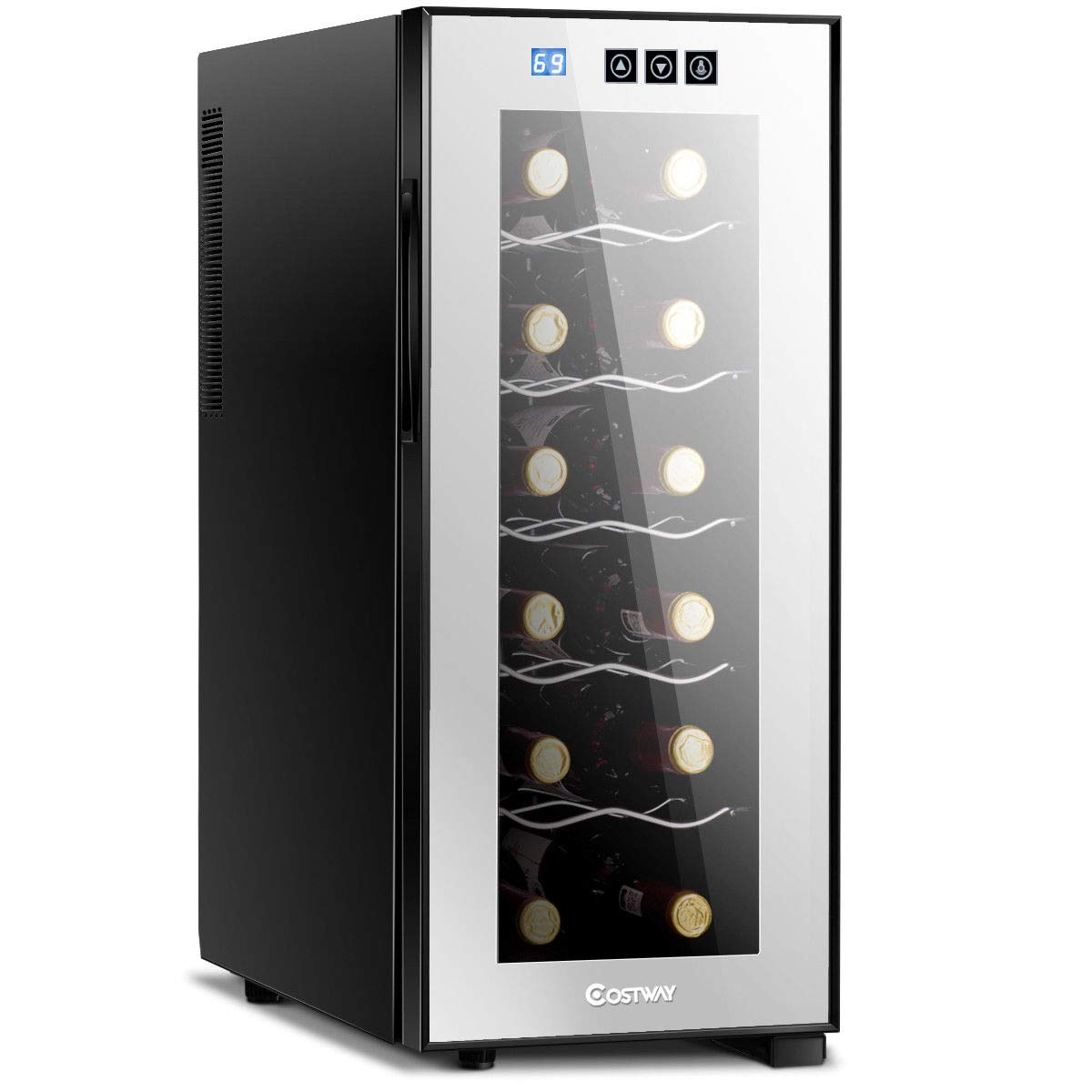 COSTWAY Thermoelectric Wine Cooler, 12 Bottles Freestanding Champagne Chiller, Counter Top Wine Cellar, with Digital Temperature Display, Smoked Glass Door, Quiet Operation Fridge, Black by COSTWAY