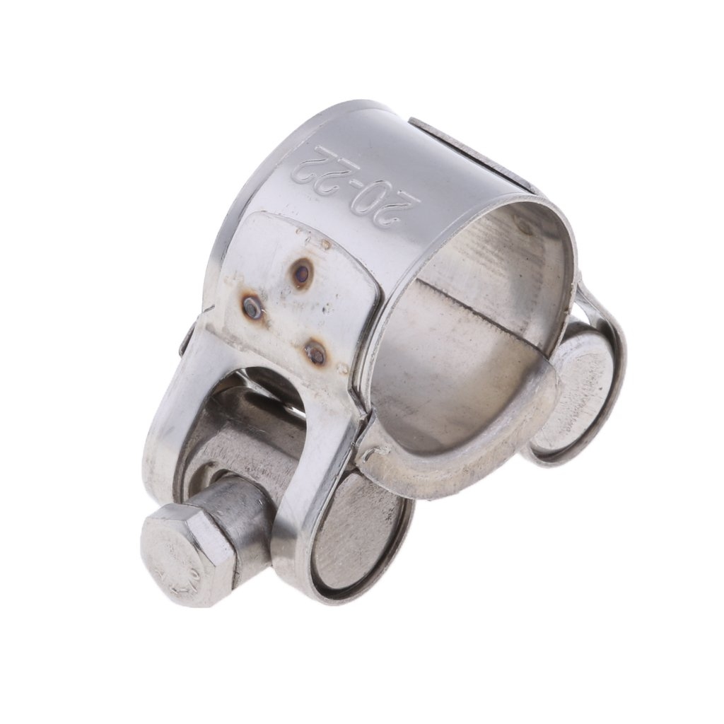 20-22mm Baoblaze Stainless Steel Motorcycle Exhaust Muffler Pipe Turbo Clip Clamp