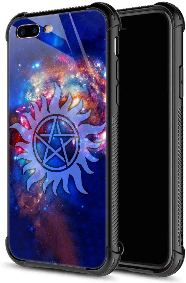 iPhone 8 Case,iPhone SE 2020 Case,Supernatural Cosmos iPhone 7 Cases for Girls Boys,9H Tempered Glass Graphic Design Shockproof Anti-Scratch Glass Case for Apple iPhone 7/8/SE2