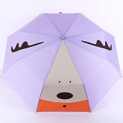 MinegRong Paraguas Soleado sombrilla Mujer Paraguas Paraguas de Dibujos Animados Cuatro sombrilla Plegable Paraguas UV,
