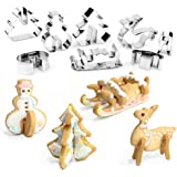 COOLWILL® Stampi 3d albero di Natale pupazzo di neve di Cookie cioccolato Cutter in acciaio inox Reindeer Sleigh (8 pezzi)