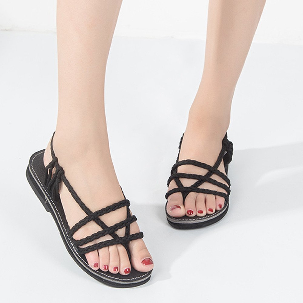 Clearance Sale Shoes For Shoes,Farjing Women Cross Roman Pinch Sandal Summer Shoes Slipper Fashion Beach Flat Shoes(US:6.5,Black )
