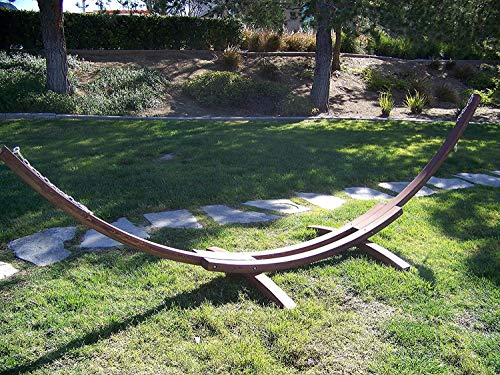 (Petra Leisure 14 Ft. Wooden Arc Hammock Stand. 450 LB Capacity. Coffee Stain Finish.)