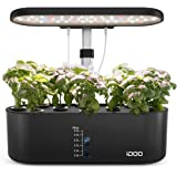 iDOO Hydroponics Growing System for Window Kitchen, 10Pods Indoor Herb Garden with Grow Light, Plants Germination Kit with Pu