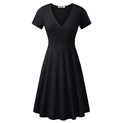 MSBASIC Women's Deep V Neck Short Sleeve Unique Cross Wrap Casual Flared Midi Dress at Women's Clothing store