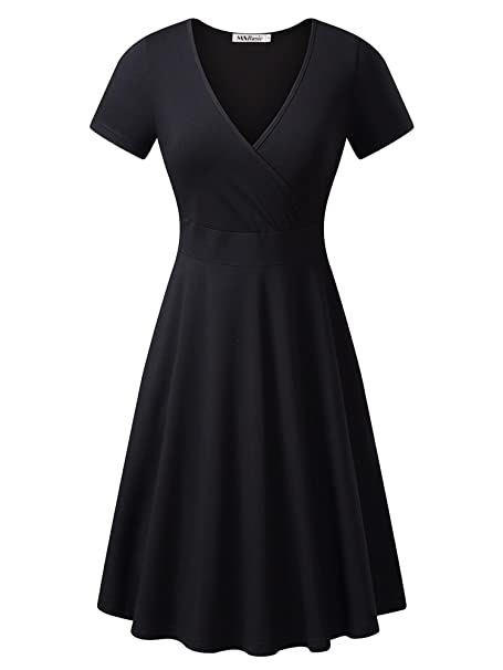 7b330b942ed0 MSBASIC Women's Deep V Neck Short Sleeve Unique Cross Wrap Casual Flared Midi  Dress, Small