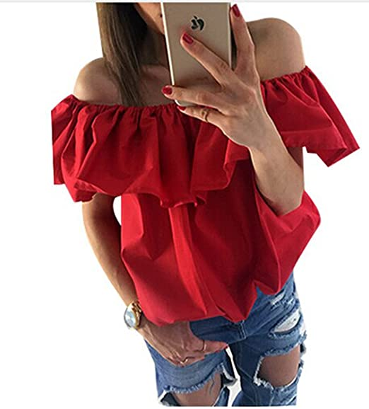 7962a83d672 Villy Women's Off Shoulder Ruffles Blouse Shirts Loose Crop Top(M/US ...