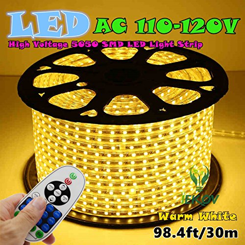 IEKOV™ AC 110-120V Flexible LED Strip Lights, 60 LEDs/M, Dimmable, Waterproof 5050 SMD LED Rope Light + Remote Controller for Party Home Decoration (98.4ft/30m,Warm White)