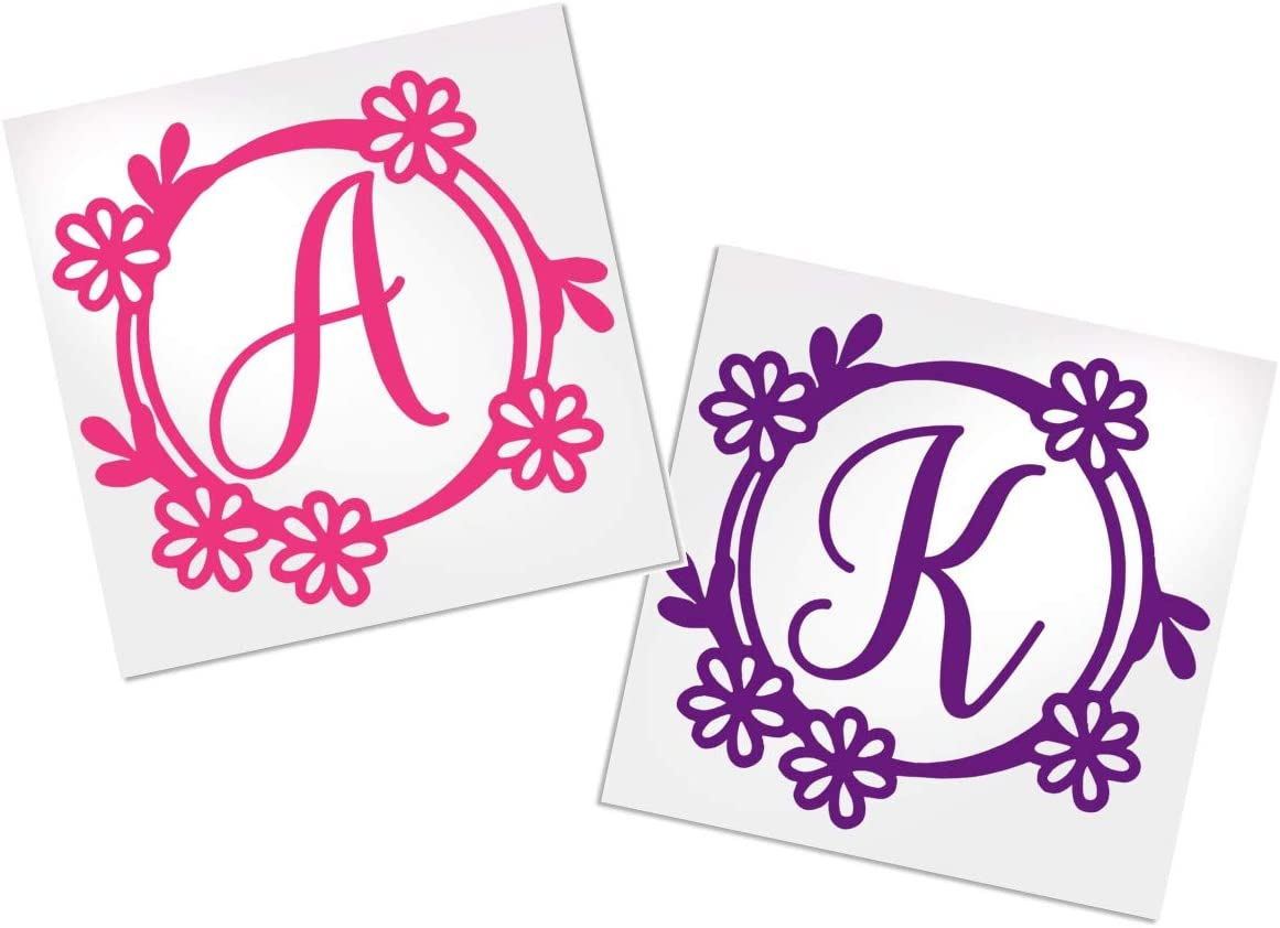 Letter Decal with Flower Border for Cup, Car, Planner, Laptop, Your Choice of Color & Style | Decals by ADavis