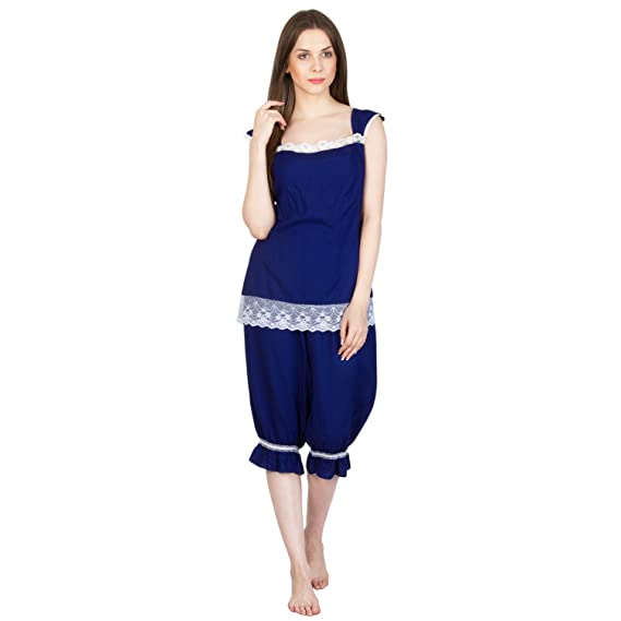 bfcf88ef73a Patrorna Lace Trimmed Royal Blue Top and Capri Night Suit Nighty Night  Dress Nightwear Night Gown