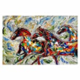 Area Rugs, Kitchen Mats, Bath Mats with Chevron Weave from DiaNoche by Karen Tarlton - Abstract Wild Horses