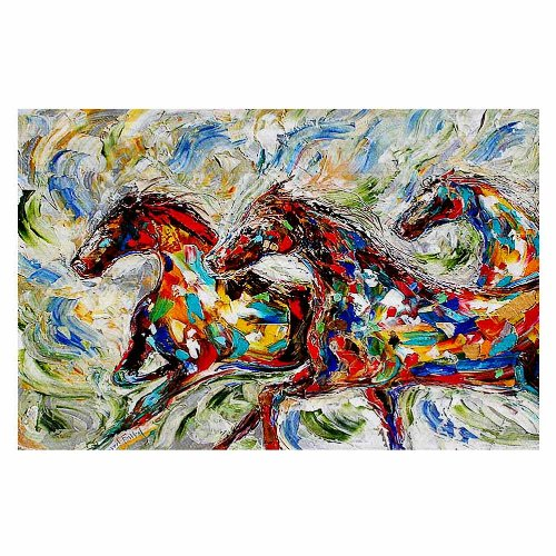 Area Rugs, Kitchen Mats, Bath Mats with Chevron Weave from DiaNoche by Karen Tarlton - Abstract Wild Horses by DiaNoche Designs