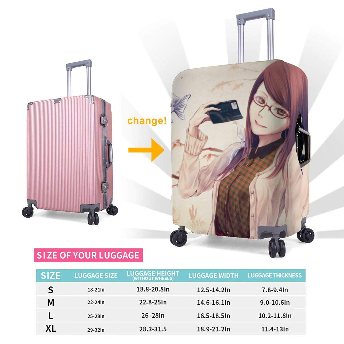 Anime Tokyo Ghoul Suitcase Protector Travel Luggage Cover Fit