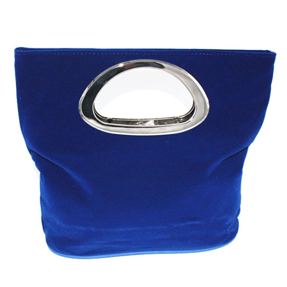 Women Suede Clutch Evening Purse Handbag Cocktail Wedding Prom Party Handle Bag (Blue)