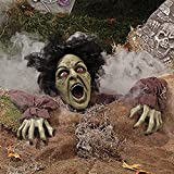 HALLOWEEN Decoration Prop CLAWING ZOMBIE GROUND BREAKER LED Eyes Sound :New
