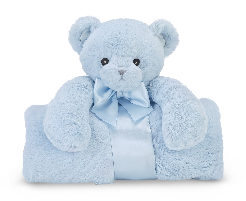 Bearington Baby Huggie Bear Cuddle Me Sleeper, Blue Teddy Bear Large Size Security Blanket, 28.5'' x 28.5''