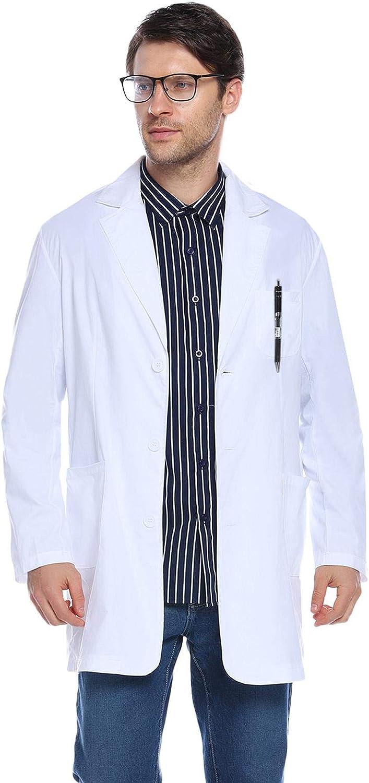 Camicia da Laboratorio Bianca Lunga per Donna/&Uomo Camici da Laboratorio per Scuola Ospedale Abollria Unisex Camici da Laboratorio in Cotone
