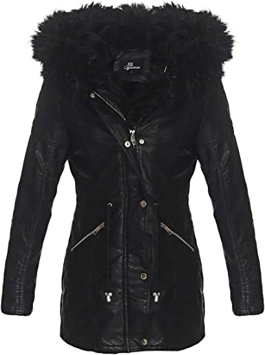 OSAB Fashion 4907 Damen Parka Mantel Lederimitat Winter Jacke Webpelz Kapuze