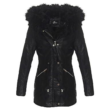 OSAB-Fashion 4907 Damen Parka Mantel Lederimitat Winter Jacke Webpelz Kapuze   Amazon.de  Bekleidung 863ad38ed0