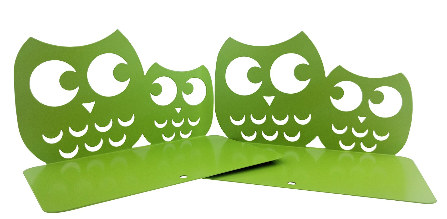 Winterworm One Pair Creative Cute Nonskid Owl Animal Art Bookends for Kids Girls Birthday Gifts (Green)