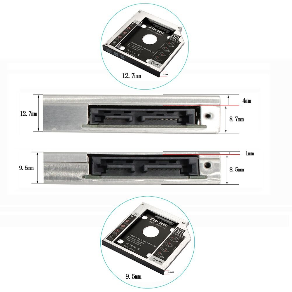 Zheino Ssd Hdd Caddy 127mm Aluminum 2nd Hard Disk Drive Toshiba Satellite C55a Wiring Diagram Case Adapter For Universal Laptop Cd Dvd Rom Optical Bay Computers