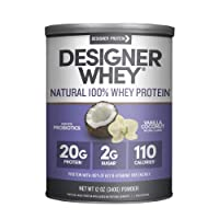 Designer Whey Protein Powder, Vanilla Coconut, 12 Ounce, Non GMO, Made in the USA