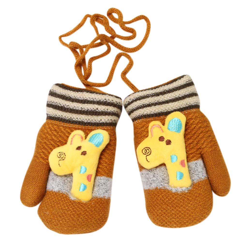 Jchen TM Baby Kids Little Girls Boys Winter Giraffe Patchwork Thicken Warm Full Finger Gloves for 0-3 Y