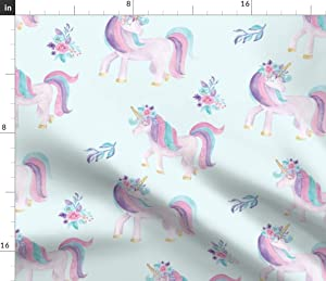 Spoonflower Fabric - Watercolour Unicorns Watercolor Nursery Decor Unicorn Horse Rainbow Printed on Petal Signature Cotton Fabric by The Yard - Sewing Quilting Apparel Crafts Decor