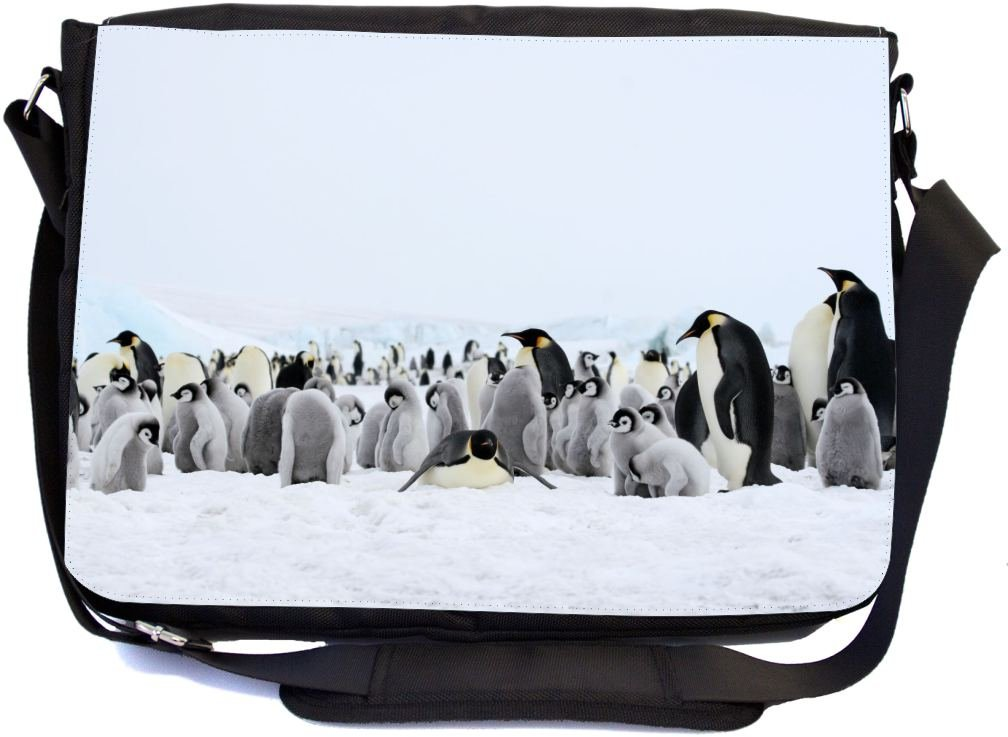 UKBK Emperor Penguins in Snow Messenger Laptop Bag with Pencil Case by Rikki Knight