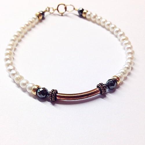 Amazon White Pearl Bracelet Copper Bracelet 7th Anniversary