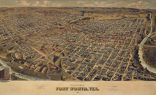 BIRDS EYE VIEW CITY OF FORT WORTH TEXAS MAP LARGE VINTAGE POSTER REPRO