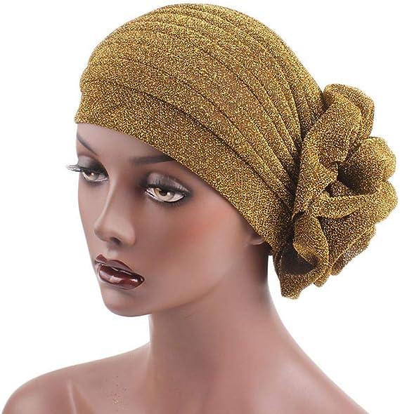 Chemo Hat Black White Gold Turban Cancer Hair Loss  Alopecia Stretch Knit