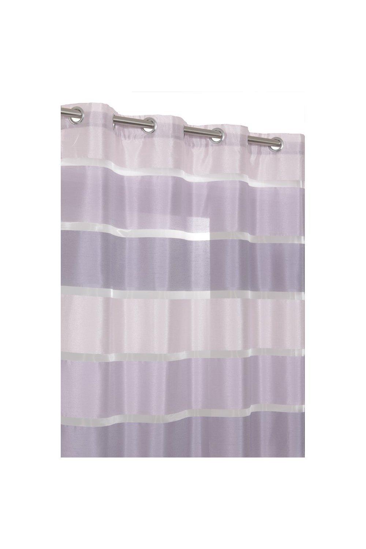 RideauDiscount Voilage /à Oeillets 140 x 240 cm /à Larges Rayures Satin/ées Violet