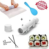 Full Sushi Making Kit By IB TECH: A Complete Sushi Rolling Set For Experts And Beginners - A Bazooka Maker, 2 Pairs Of Chopsticks, A Sushi Mat and A Sushi Spoon To Make Professional Homemade Sushi