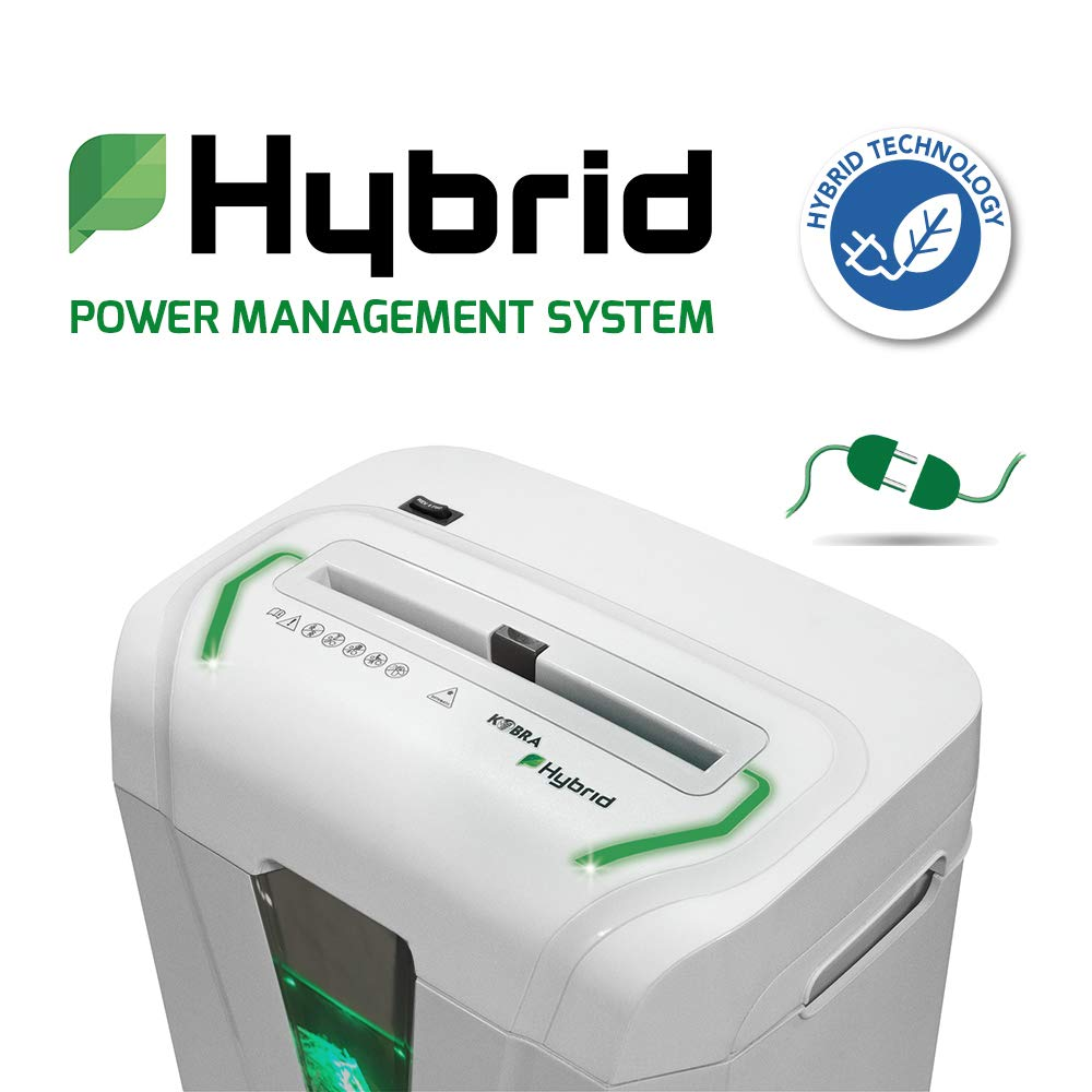 Kobra Hybrid-S Cross-Cut Paper Shredder, Up to 12 Capacity, 24 Hour Continuous Duty, Exclusive Hybrid Technology, Light-Gray, Made in Italy by Kobra (Image #2)