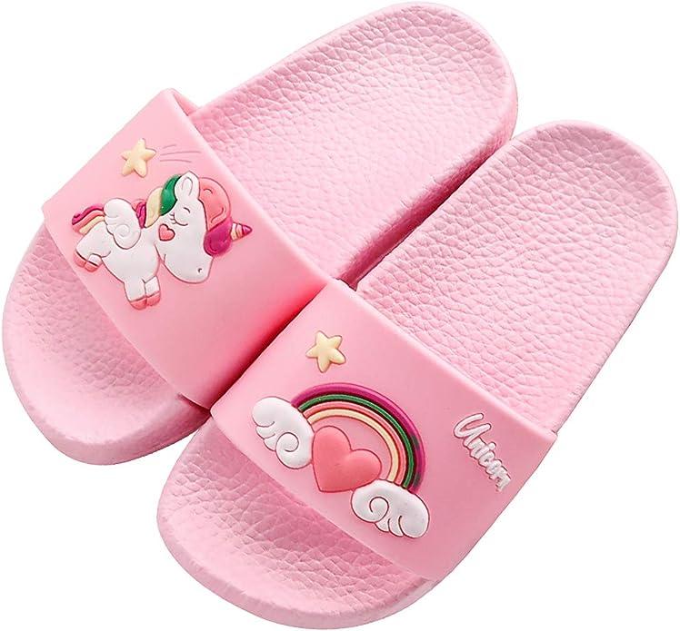 Sandals Unicorn Cartoon Childrens Classic Wooden Cartoon Water ski Shoes Light Garden Shoes Summer Toddler Boys Beach Swimming Pool Shower Slippers Girls
