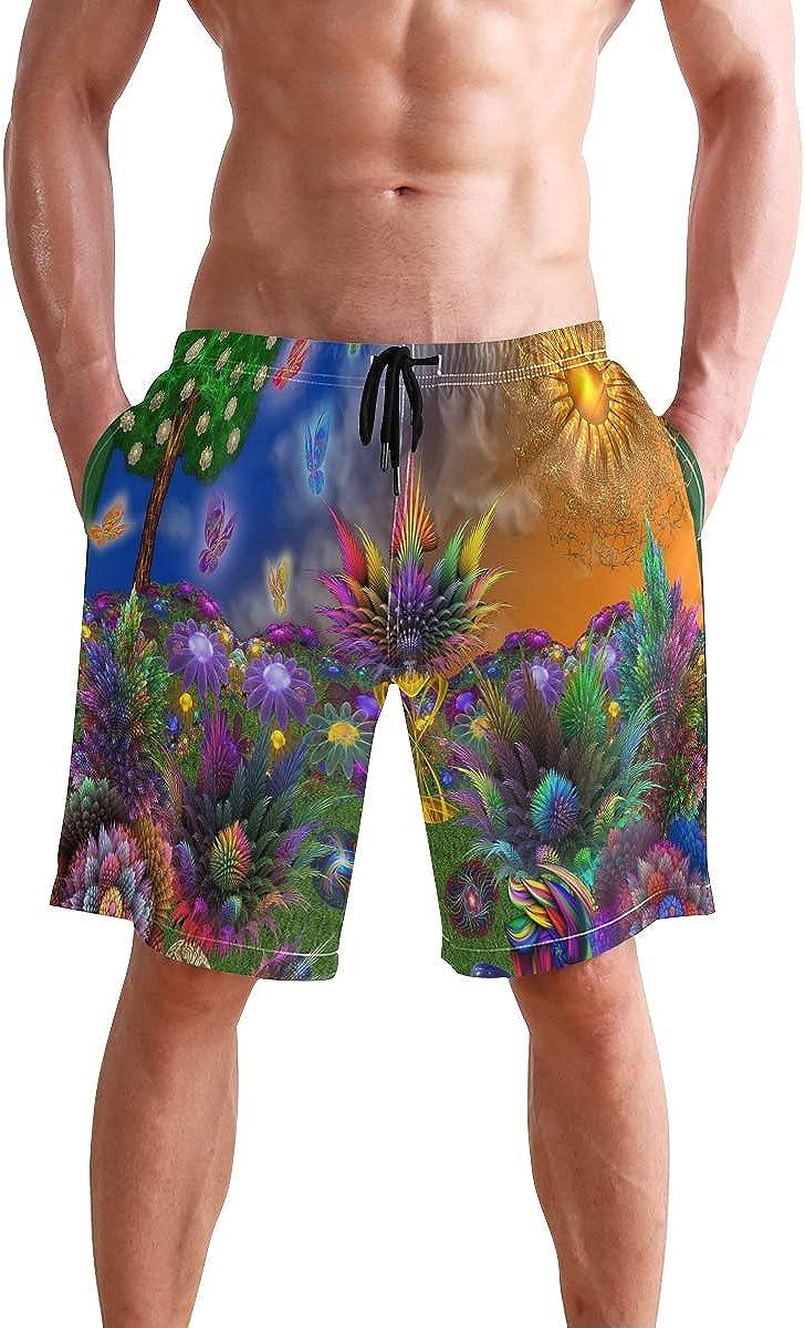 COVASA Mens Summer ShortsColorful World