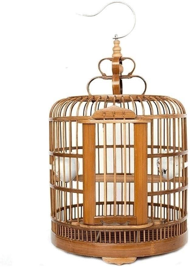 Jaula de pájaros Redonda Colgante de Pared de bambú Colgante de Pared Jaula de pájaros Interior al Aire Libre Gran Canario Loro Jaula de pájaros Accesorios Diámetro 33 cm