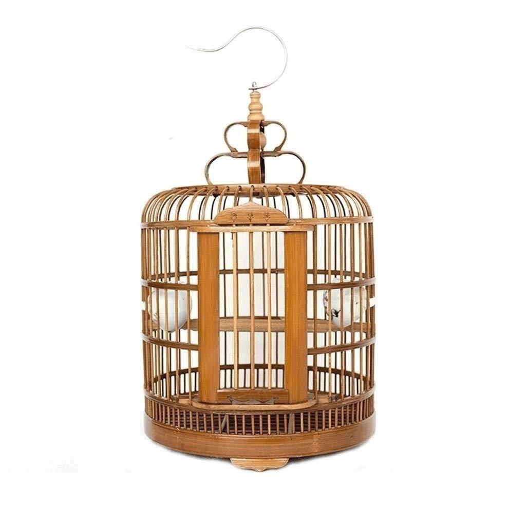 HD-Birds / Birdhouses Round Bird Cage Bamboo Wall Hanging Wall Hanging Bird Cage Indoor Outdoor Large Canary Parrot Bird Cage Accessories Diameter 33cm by HD-Birds / Birdhouses