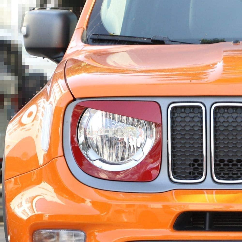 L/&U Scheinwerfer Bezels Scheinwerferleiste Abdeckung Angry Bird-Kopf-Lampen-Ring f/ür 2019-2020 Jeep Renegade,Rot