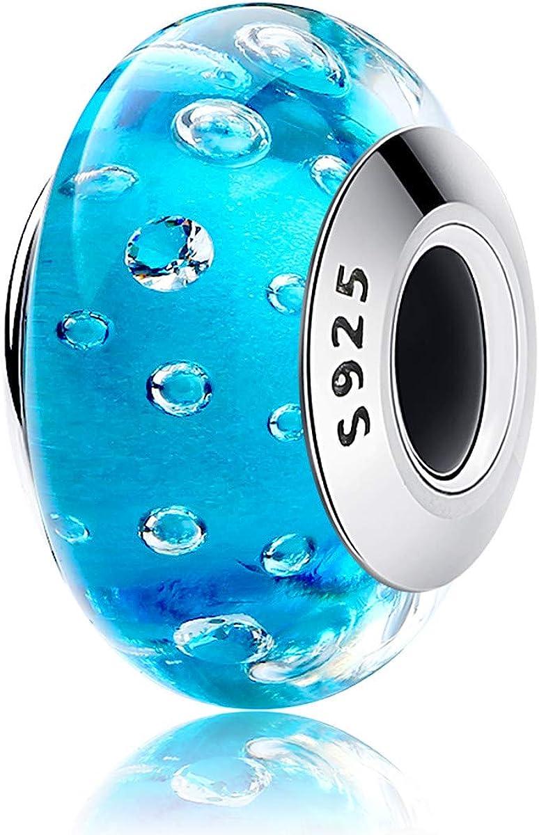 EMEMcharm Verre Charms et Perles Argent 925 Drops Cristal GM15