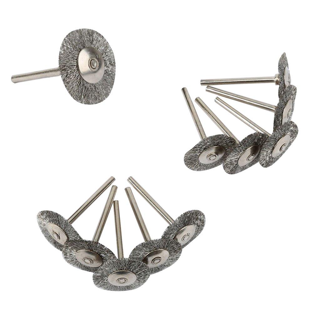 Funwill 20 pcs Roue Fil d'acier inoxydable Brosse Nettoyant pour Polissage Outil rotatif