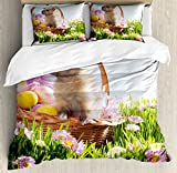 Easter Duvet Cover Set Queen Size by Lunarable, Basket with Eggs and a Cute Easter Bunny Rabbit in the Grass with Pink Flowers Field, Decorative 3 Piece Bedding Set with 2 Pillow Shams, Multicolor