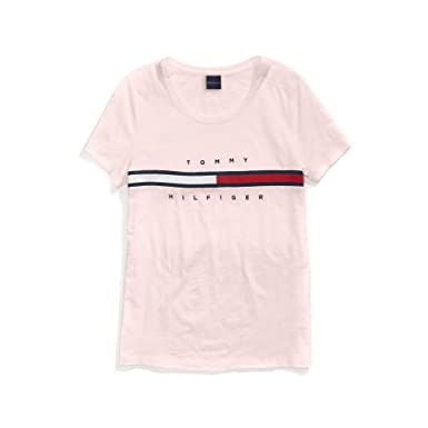 6d79937636f1 Tommy Hilfiger Women's T Shirt with Magnetic Closure Signature Stripe Tee,  Soft Pink, X