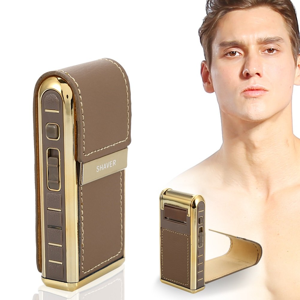 Men's Shaver for Travel, Leather Wrapped Rechargeable Reciprocating Electric Razor Beard Trimmers Men' s Shaver for Travel ZJchao