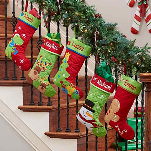 Personalized Reindeer Buddies Quilted Christmas Stocking -